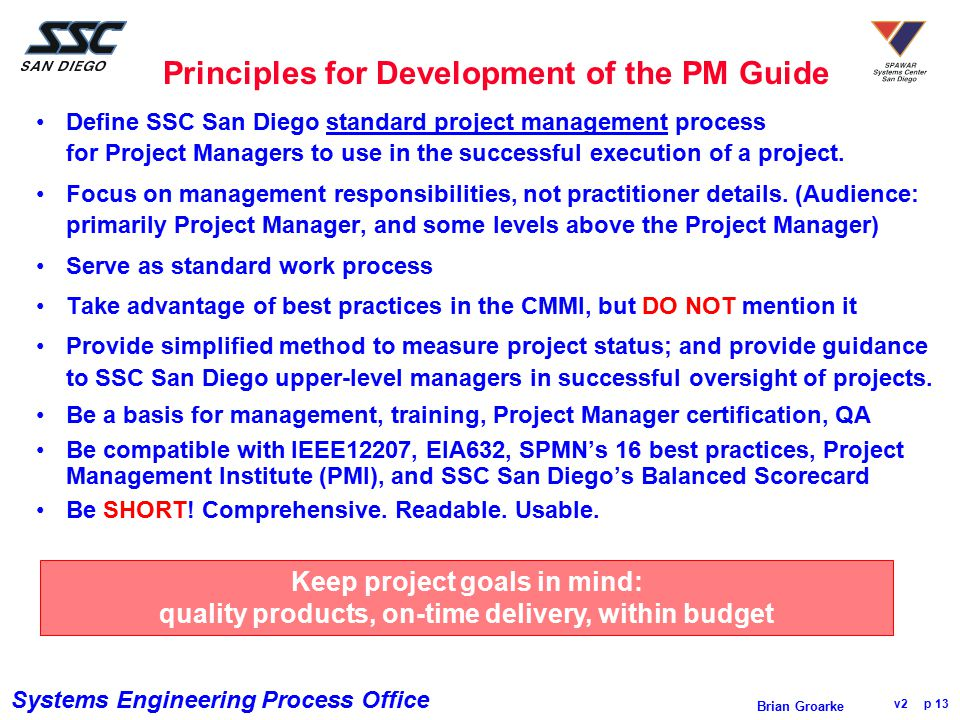 Principles for Development of the PM Guide