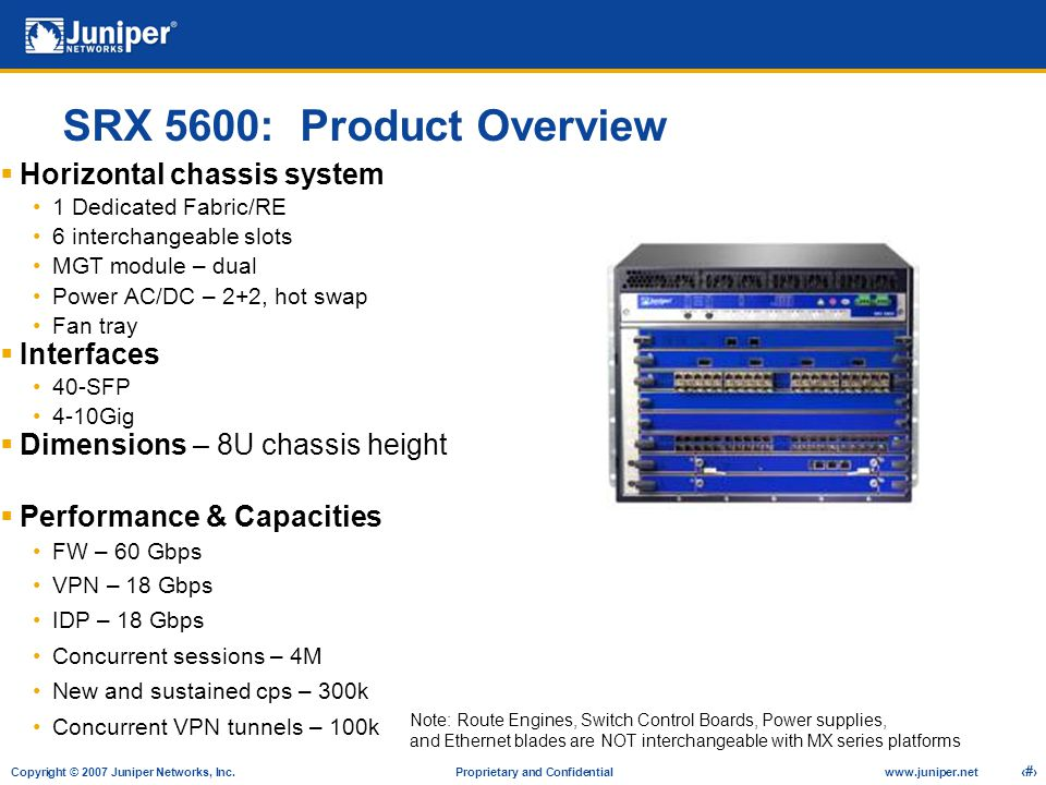 SRX 5600: Product Overview Horizontal chassis system Interfaces