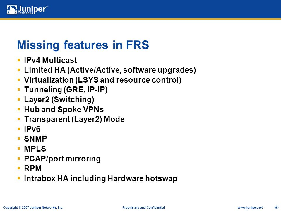 Missing features in FRS