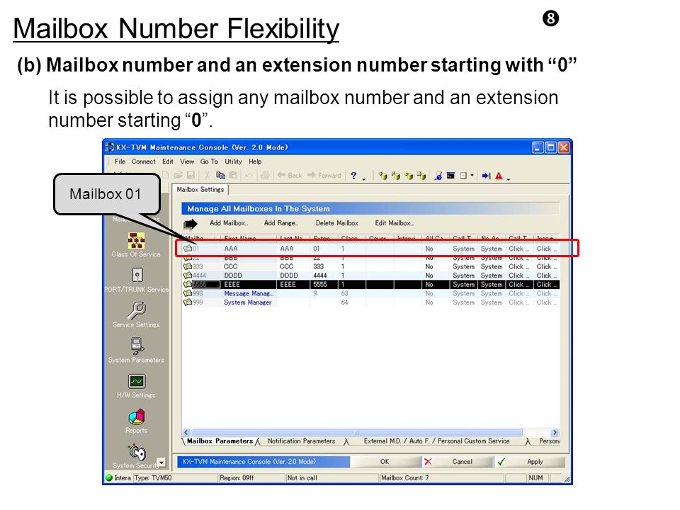 Mailbox Number Flexibility