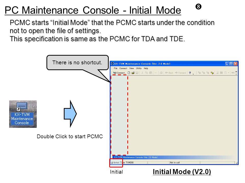 PC Maintenance Console - Initial Mode