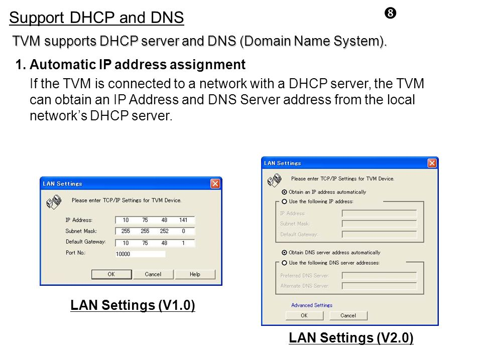 Support DHCP and DNS. TVM supports DHCP server and DNS (Domain Name System). 1. Automatic IP address assignment.