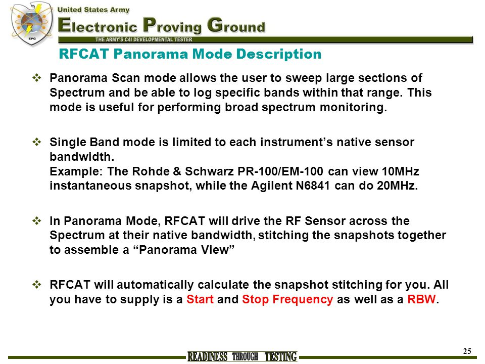 RFCAT Panorama Mode Description