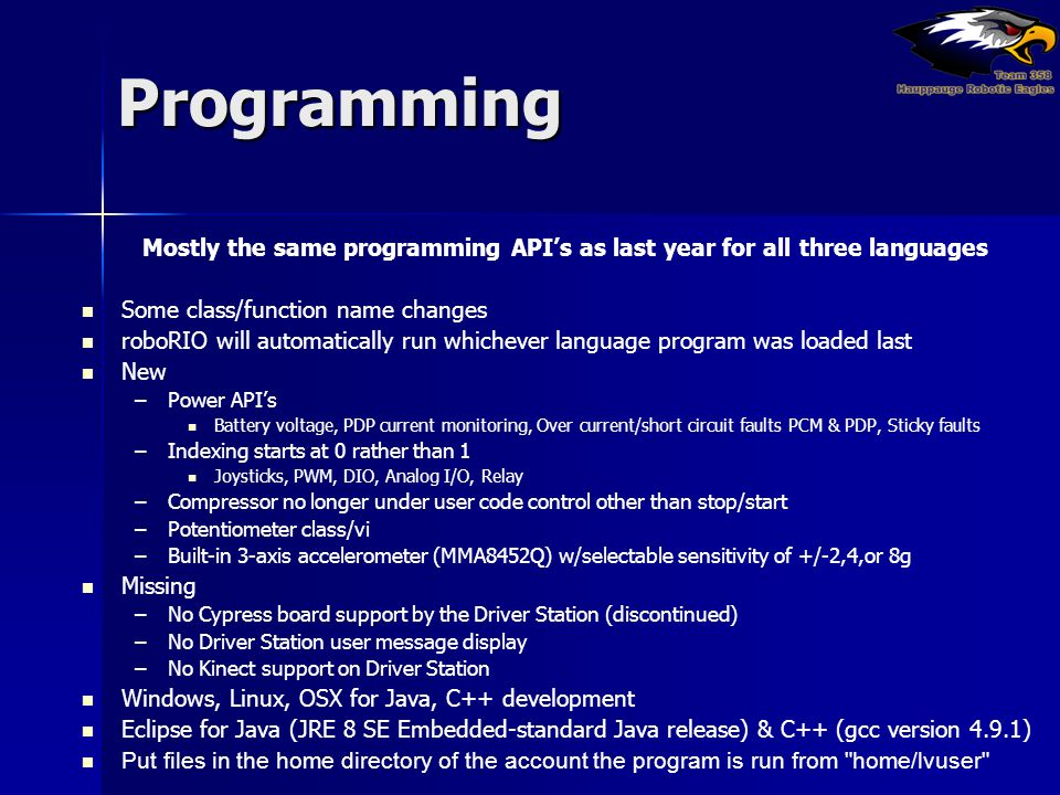Mostly the same programming API's as last year for all three languages