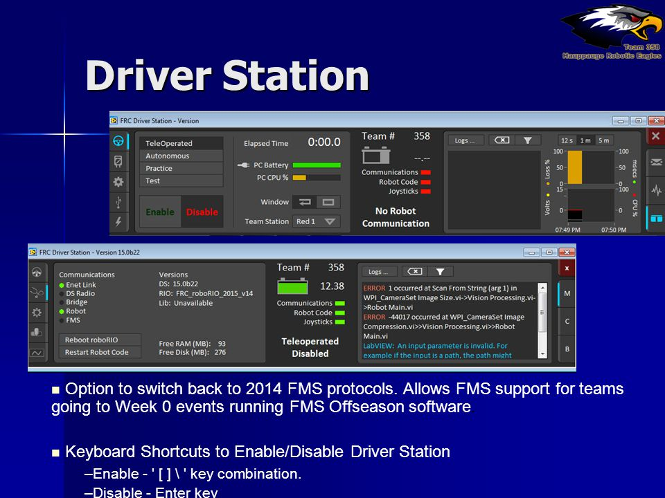 Driver Station Option to switch back to 2014 FMS protocols. Allows FMS support for teams going to Week 0 events running FMS Offseason software.