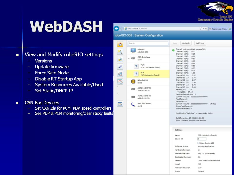 WebDASH View and Modify roboRIO settings Versions Update firmware