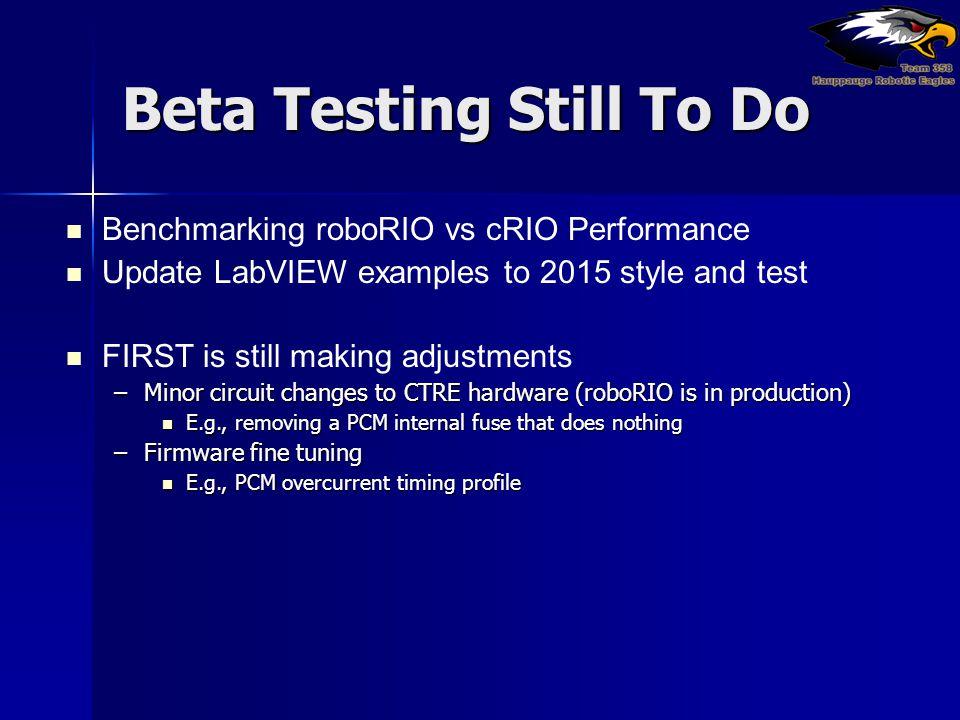 Beta Testing Still To Do