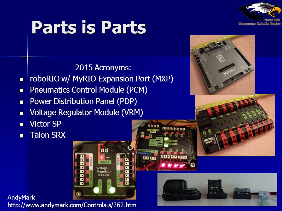 Parts is Parts 2015 Acronyms: roboRIO w/ MyRIO Expansion Port (MXP)
