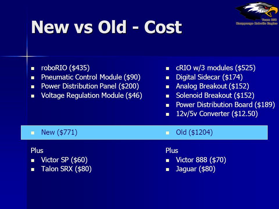 New vs Old - Cost roboRIO ($435) Pneumatic Control Module ($90)