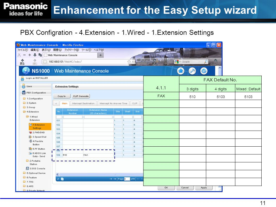 PBX Configration - 4.Extension - 1.Wired - 1.Extension Settings