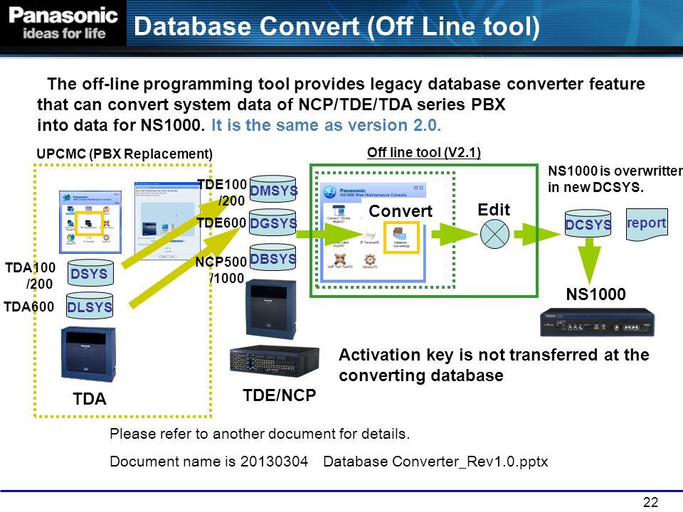 Database Convert (Off Line tool)