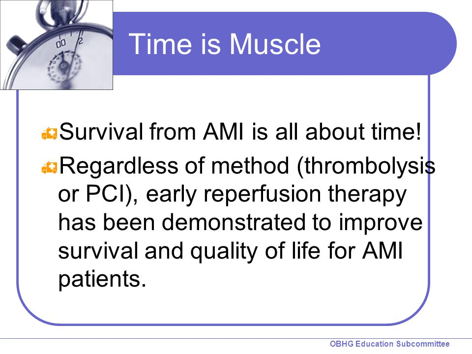Time is Muscle Survival from AMI is all about time!