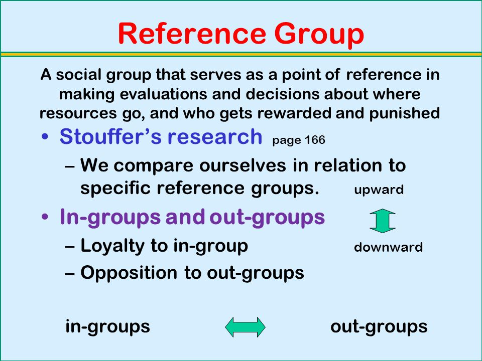 Reference Group Stouffer's research page 166 In-groups and out-groups