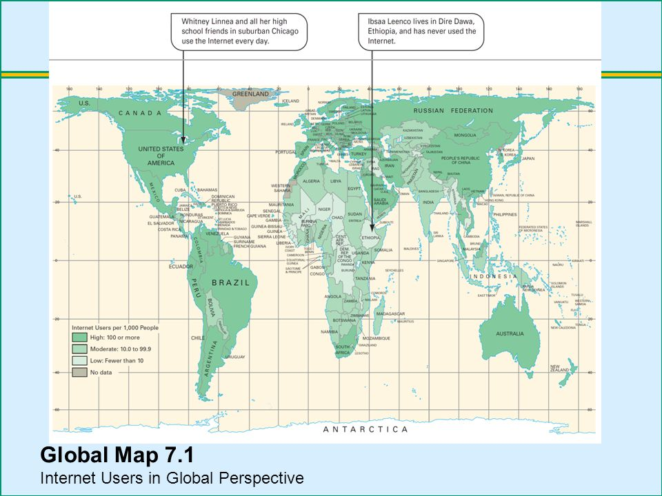Global Map 7.1 Internet Users in Global Perspective