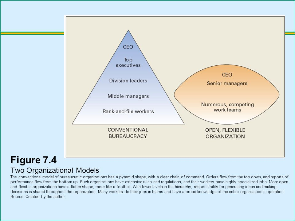 Figure 7.4 Two Organizational Models The conventional model of bureaucratic organizations has a pyramid shape, with a clear chain of command.