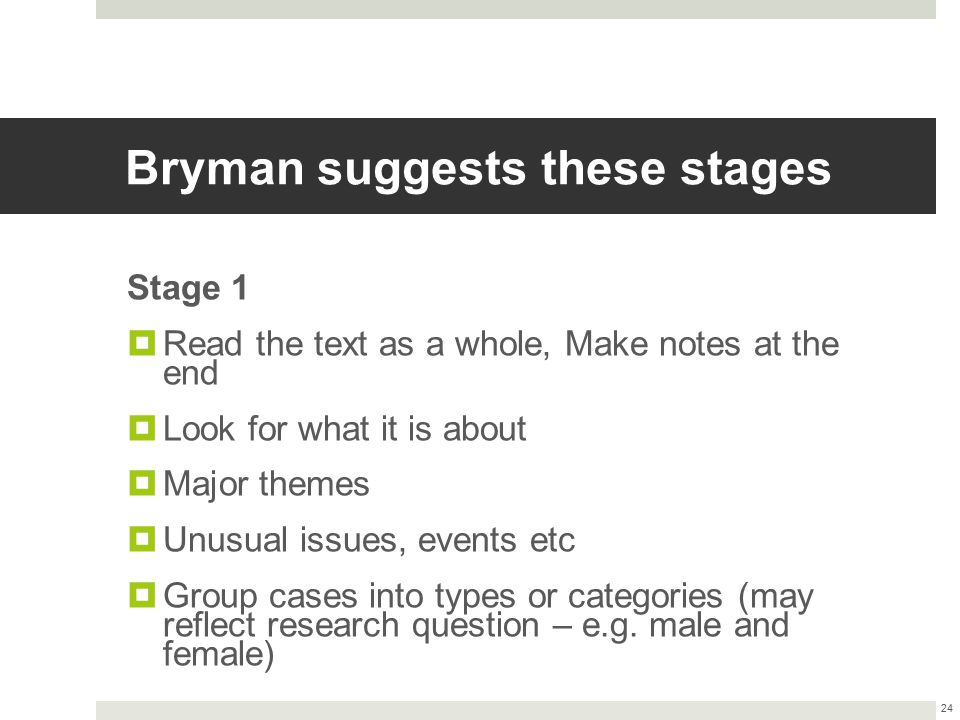 Bryman suggests these stages