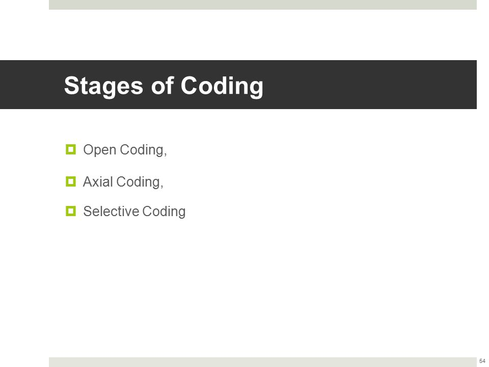 Stages of Coding Open Coding, Axial Coding, Selective Coding