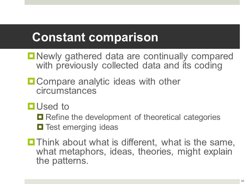 Constant comparison Newly gathered data are continually compared with previously collected data and its coding.