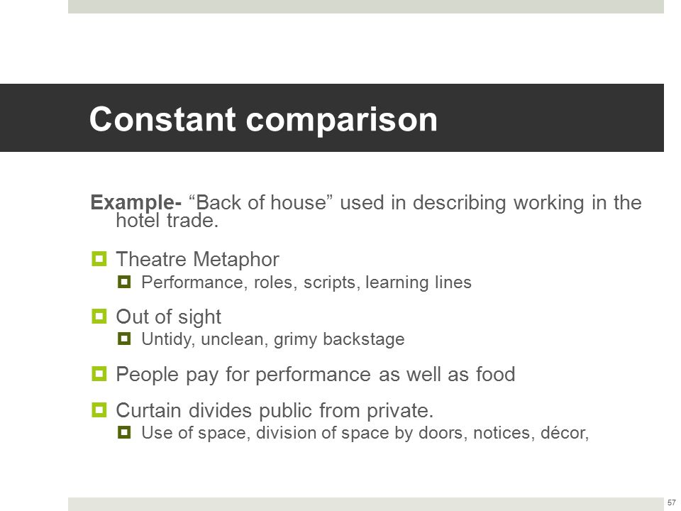 Constant comparison Example- Back of house used in describing working in the hotel trade. Theatre Metaphor.