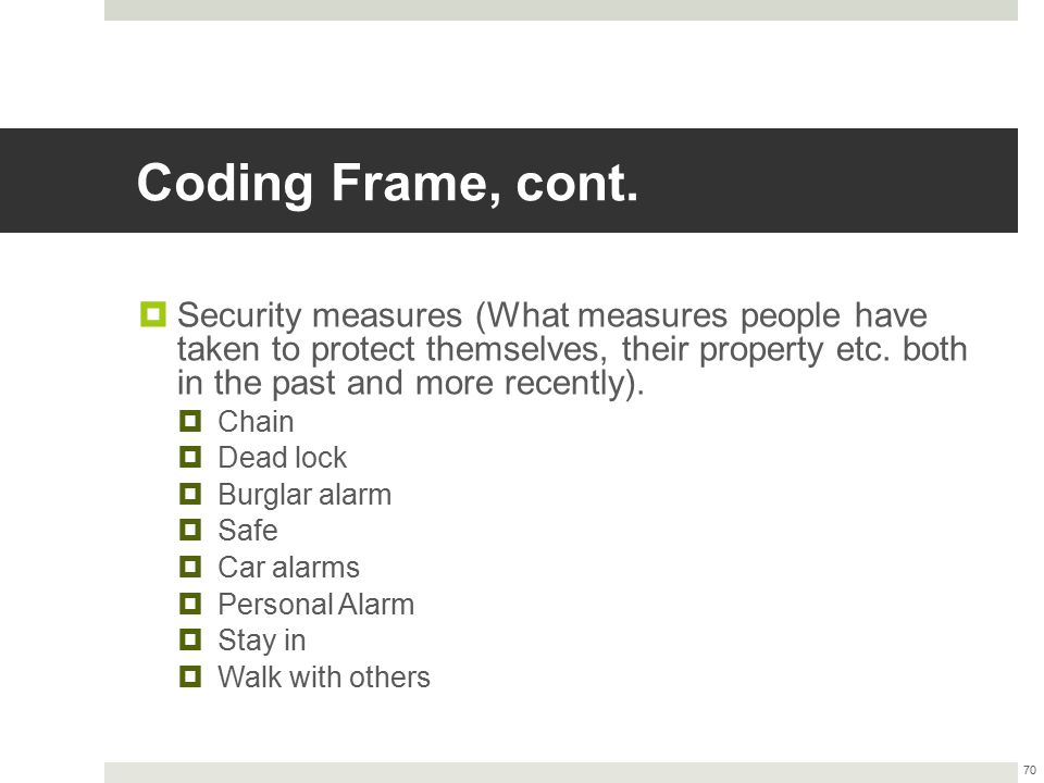 Coding Frame, cont.