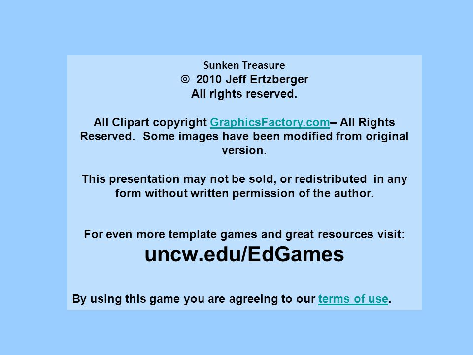 uncw.edu/EdGames Sunken Treasure