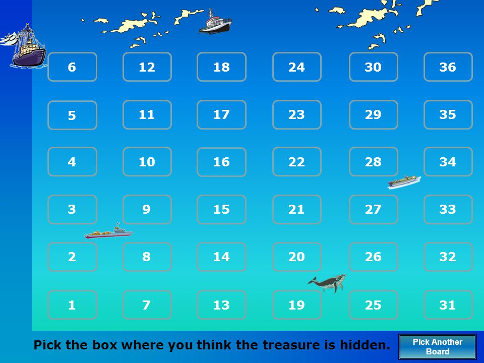 Pick the box where you think the treasure is hidden.