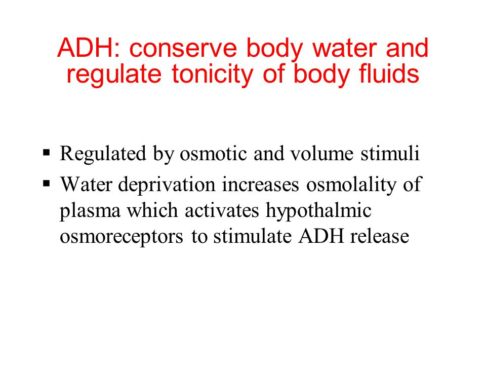 ADH: conserve body water and regulate tonicity of body fluids