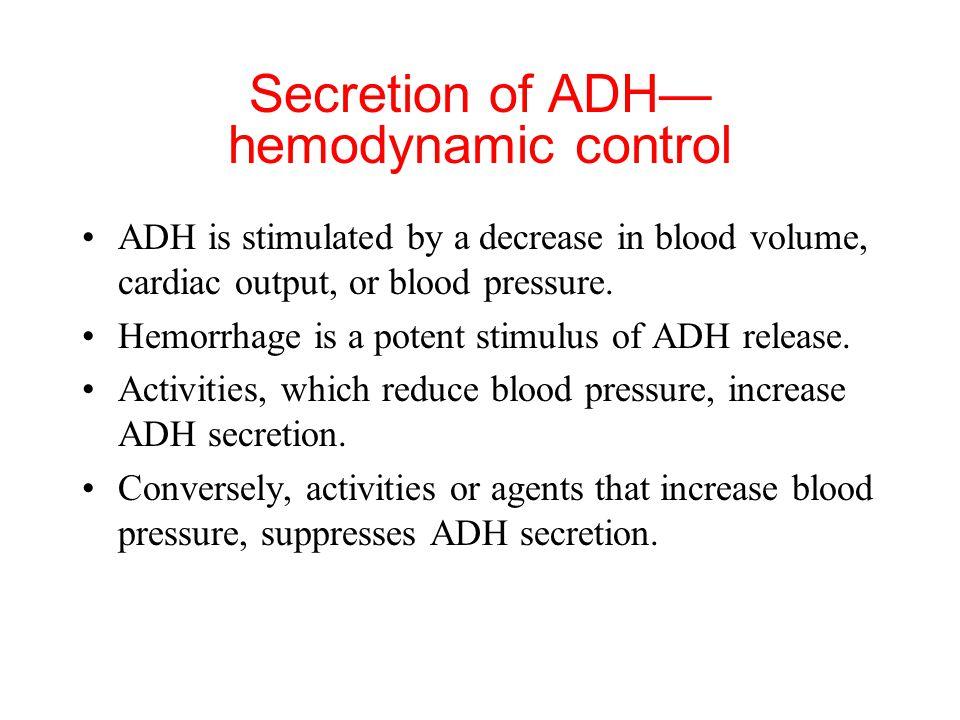 Secretion of ADH—hemodynamic control