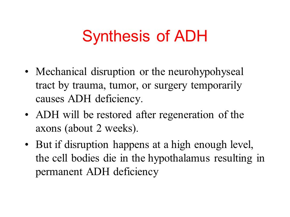 Synthesis of ADH Mechanical disruption or the neurohypohyseal tract by trauma, tumor, or surgery temporarily causes ADH deficiency.