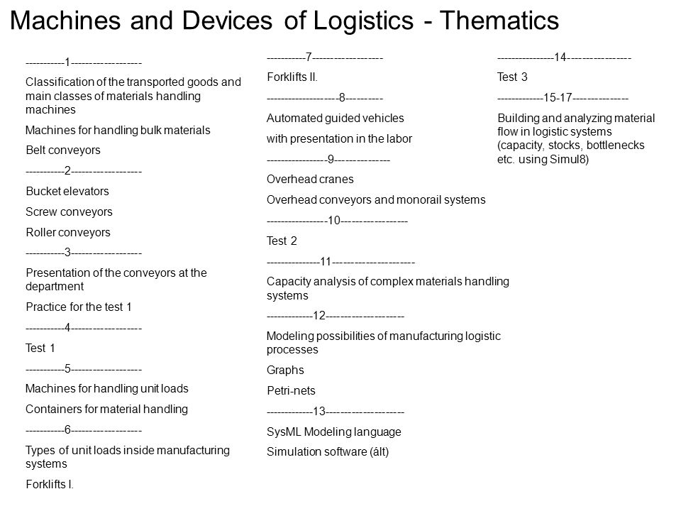 Machines and Devices of Logistics - Thematics