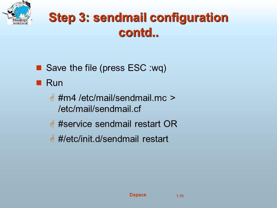 Step 3: sendmail configuration contd..
