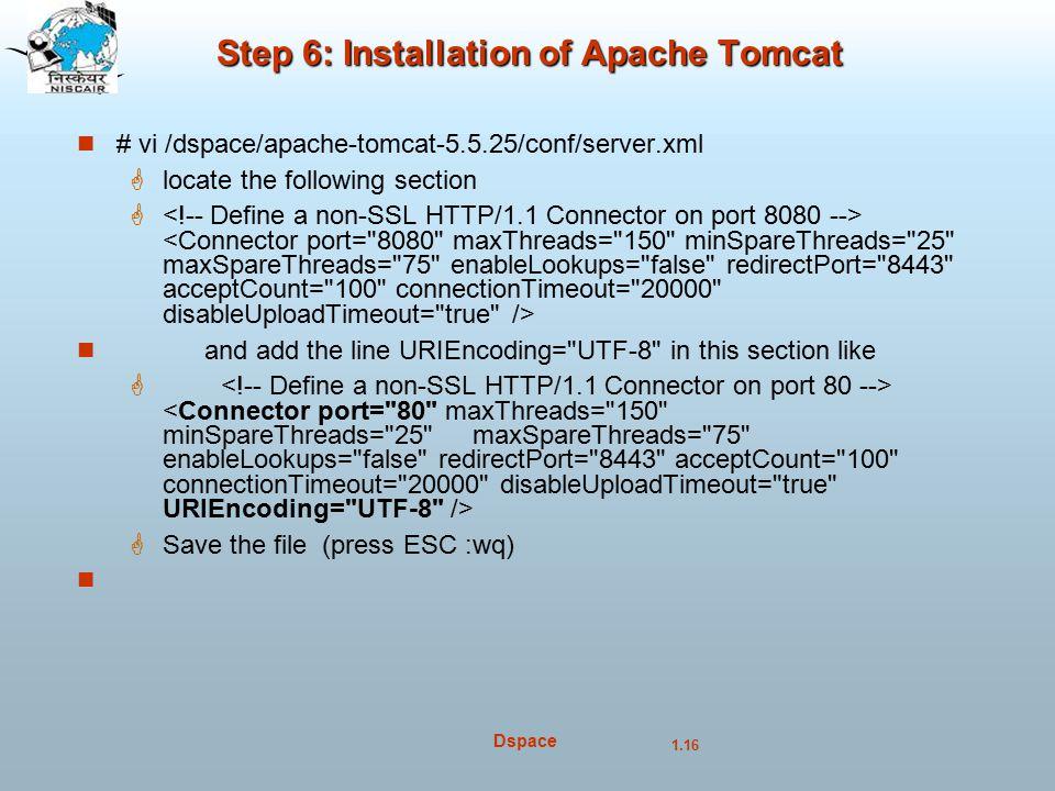 Step 6: Installation of Apache Tomcat