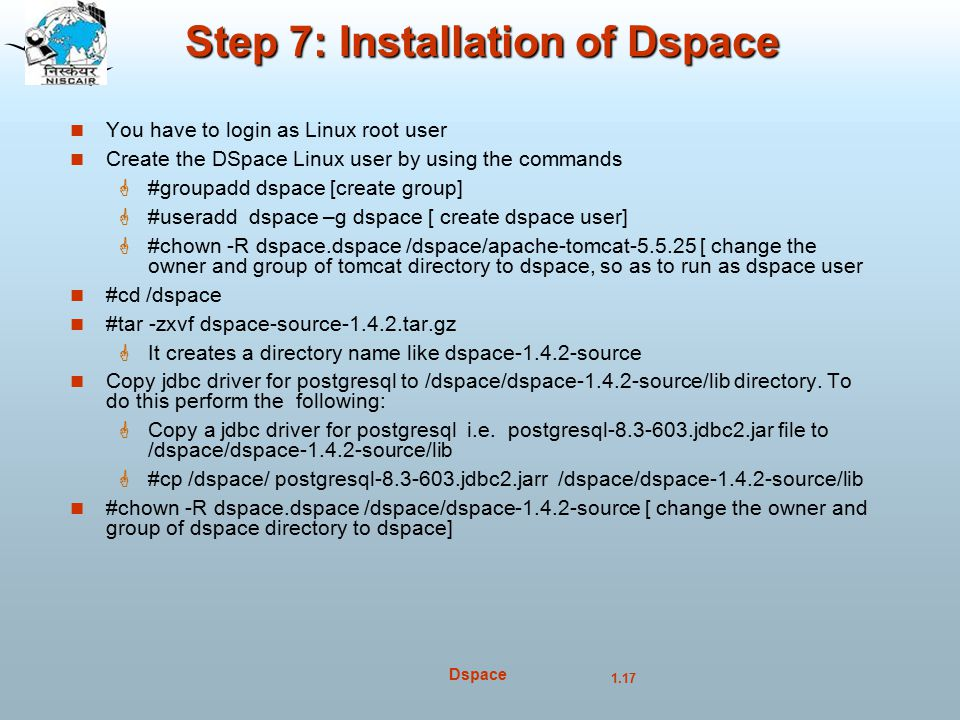 Step 7: Installation of Dspace