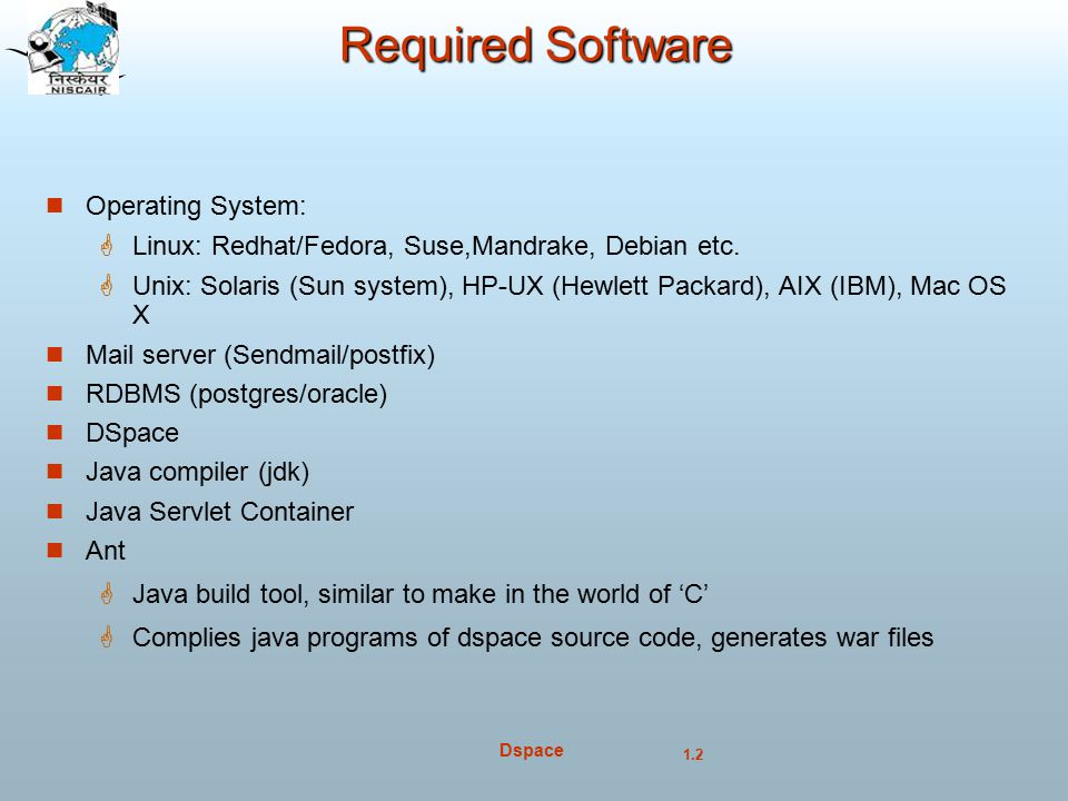 Required Software Operating System: