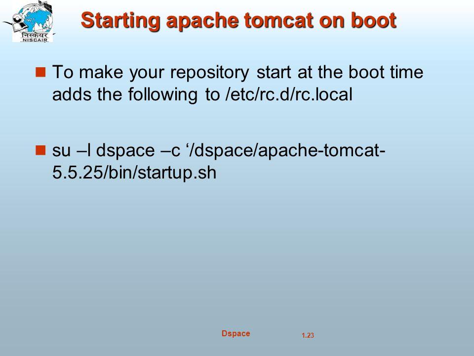 Starting apache tomcat on boot