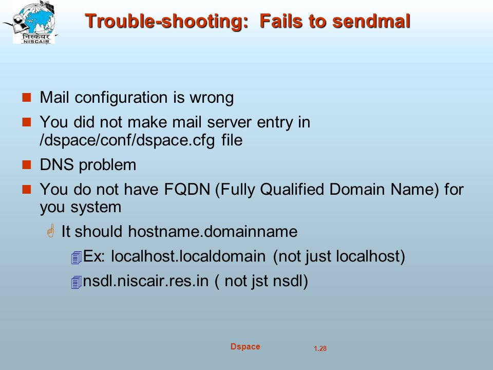 Trouble-shooting: Fails to sendmal