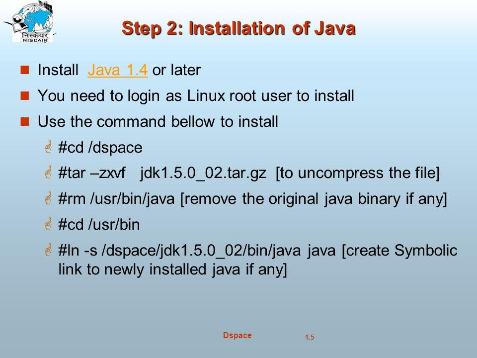 Step 2: Installation of Java