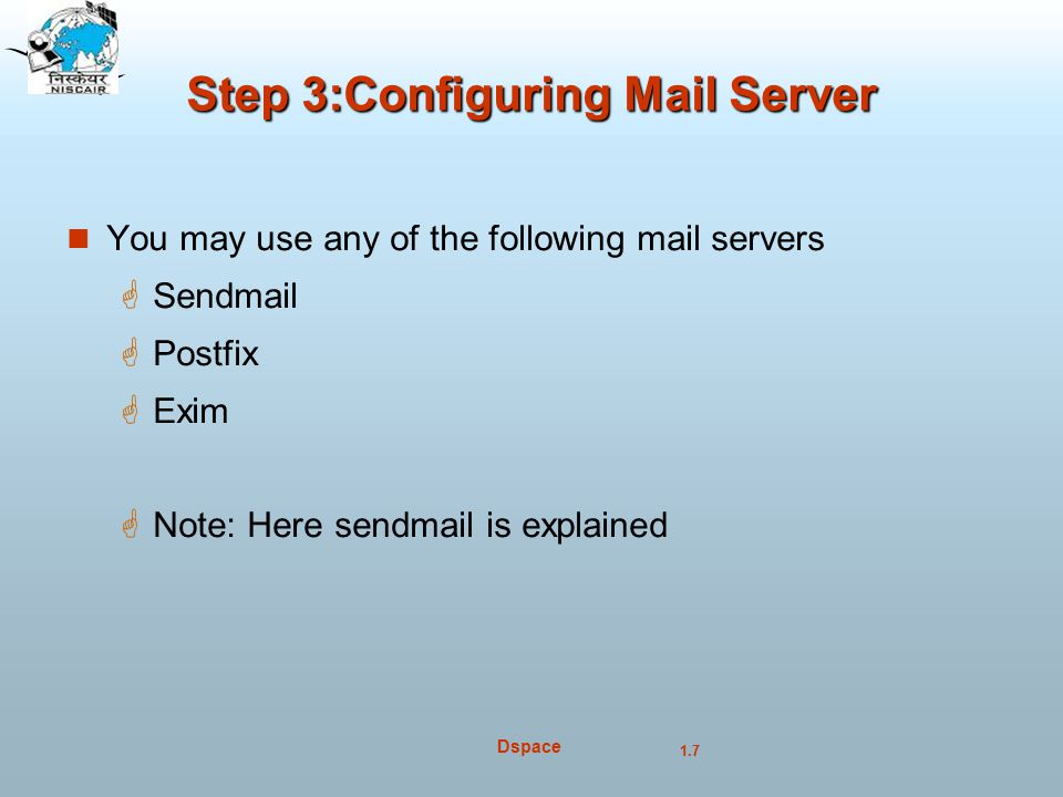 Step 3:Configuring Mail Server