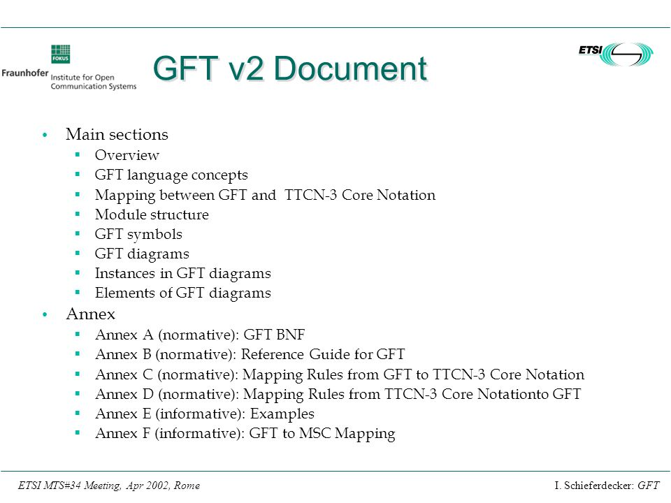 GFT v2 Document Main sections Annex Overview GFT language concepts