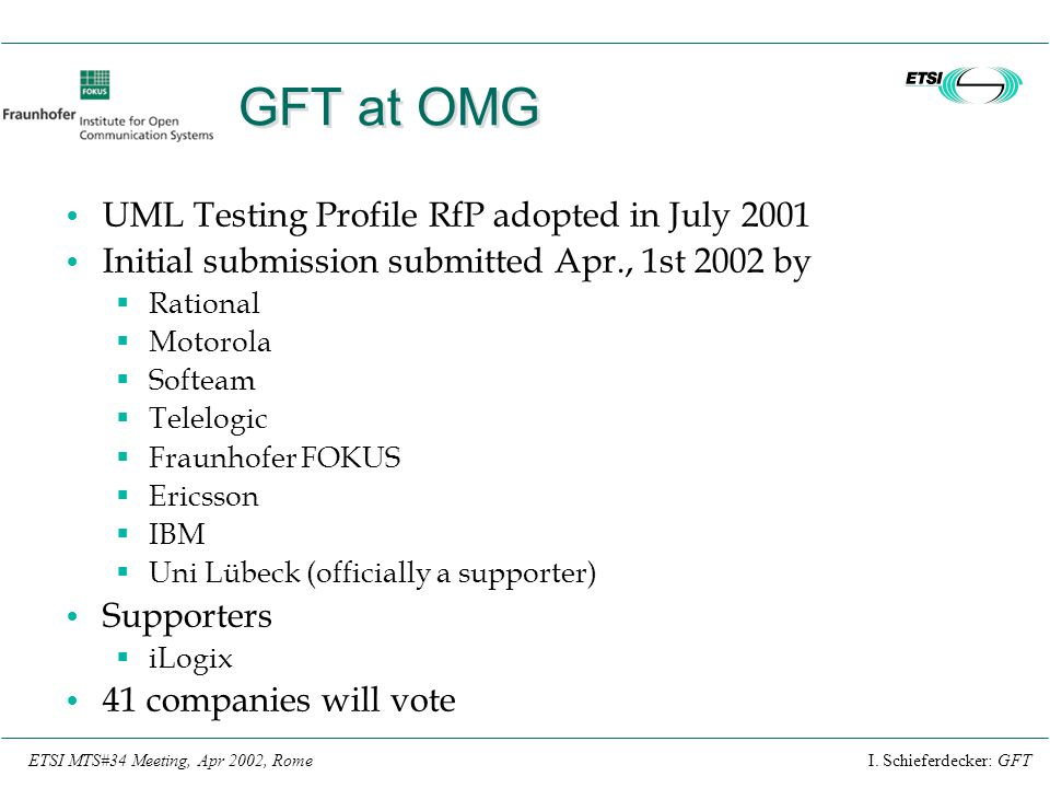 GFT at OMG UML Testing Profile RfP adopted in July 2001