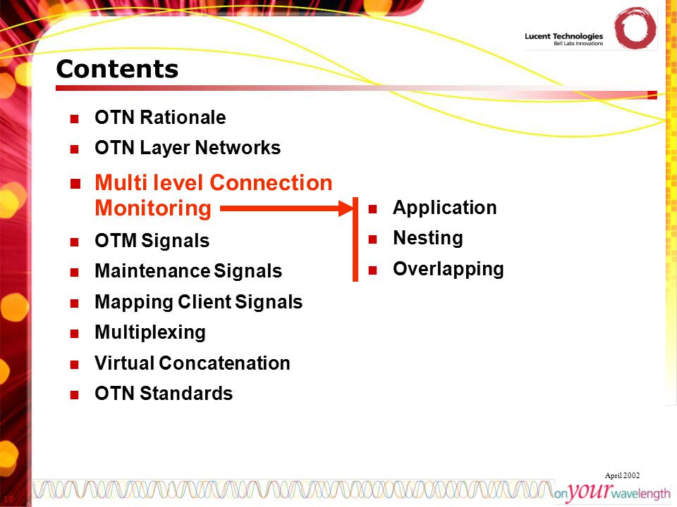 Contents Multi level Connection Monitoring OTN Rationale