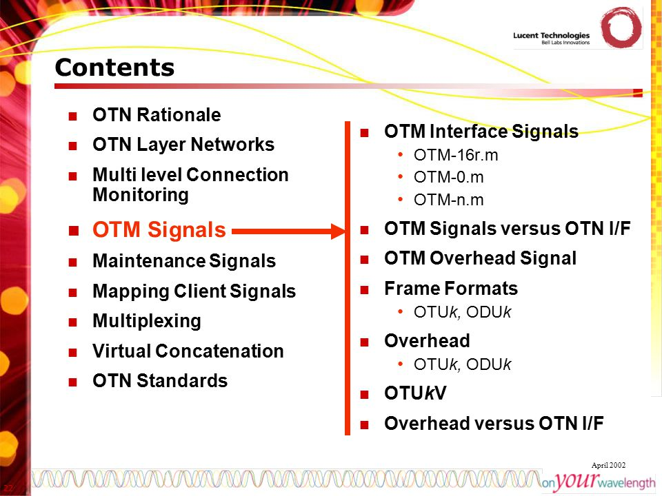 Contents OTM Signals OTN Rationale OTN Layer Networks