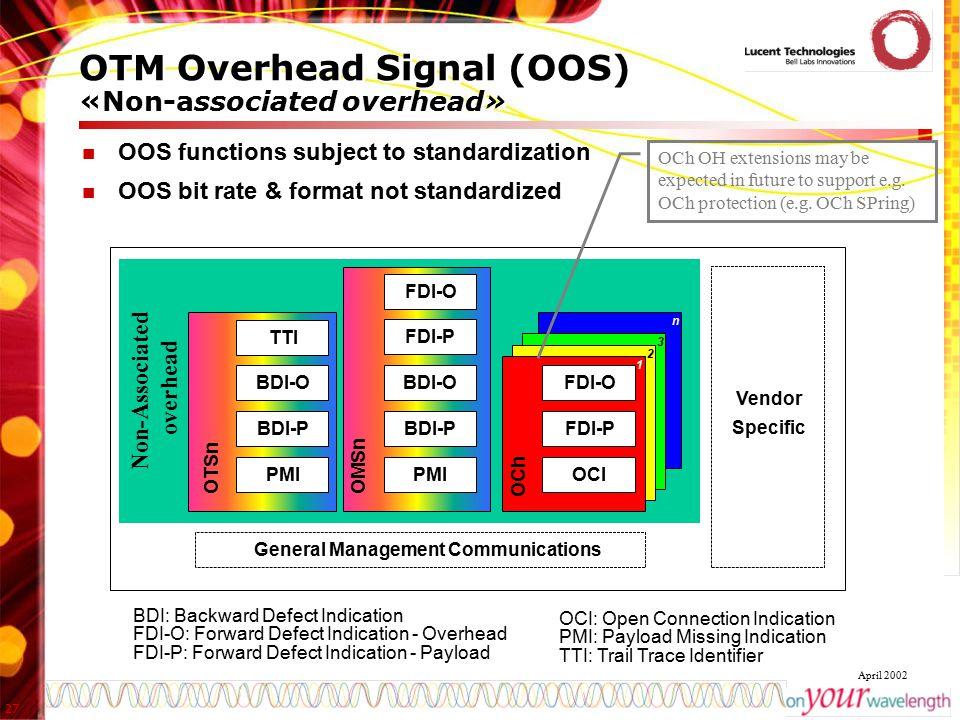 OTM Overhead Signal (OOS) «Non-associated overhead»
