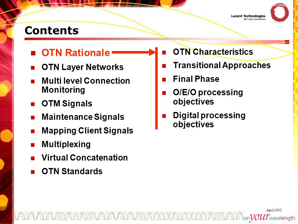 Contents OTN Rationale OTN Characteristics Transitional Approaches