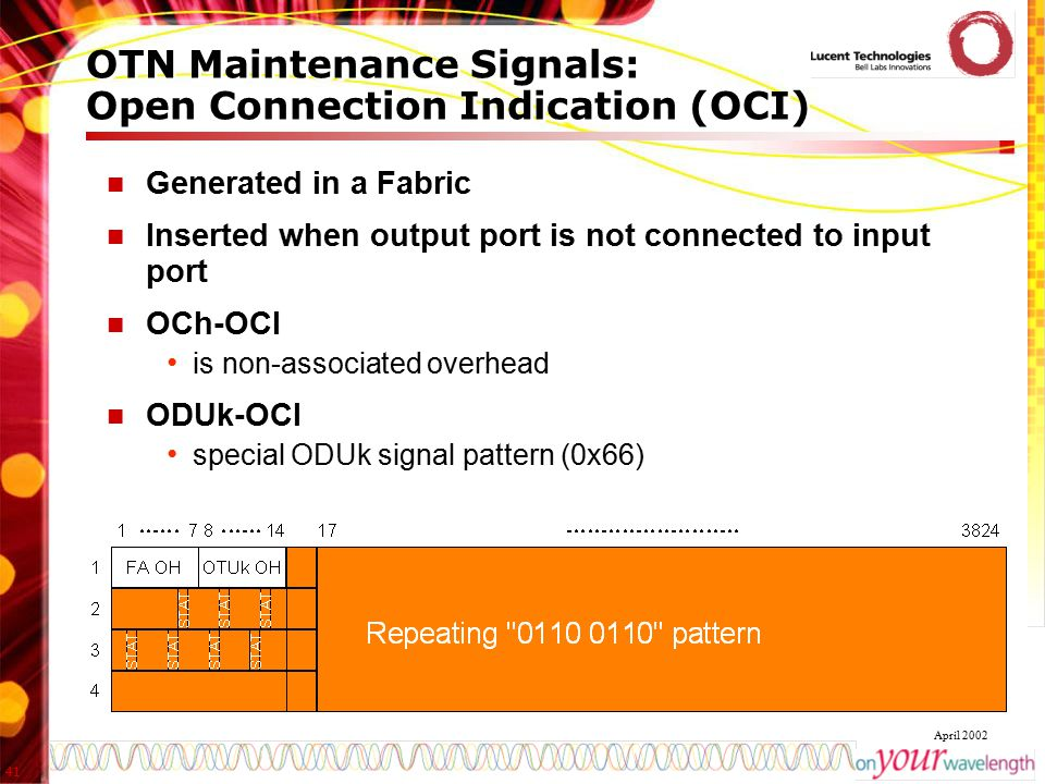 OTN Maintenance Signals: Open Connection Indication (OCI)