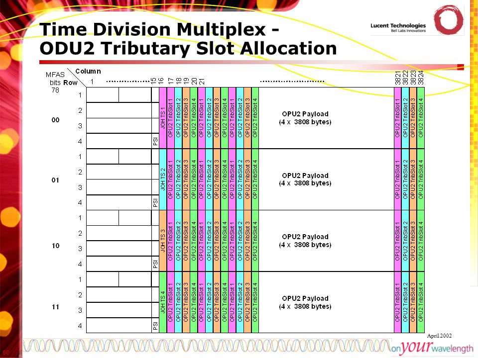 Time Division Multiplex - ODU2 Tributary Slot Allocation