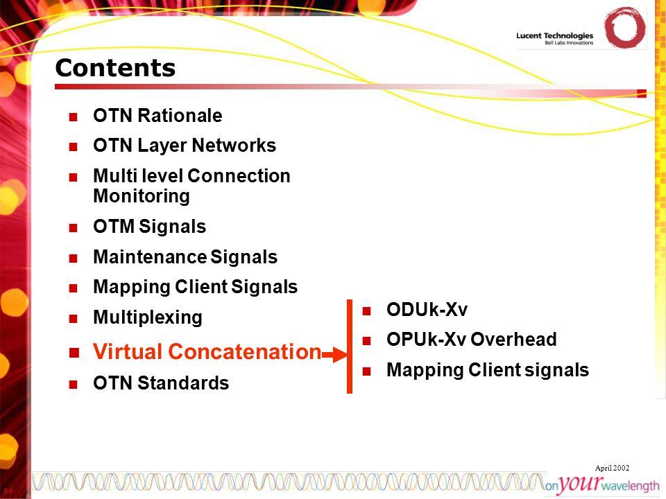 Contents Virtual Concatenation OTN Rationale OTN Layer Networks