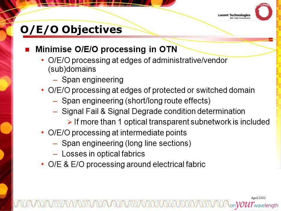 O/E/O Objectives Minimise O/E/O processing in OTN