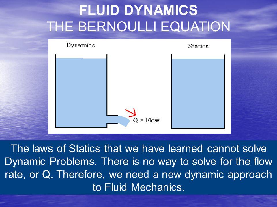FLUID DYNAMICS THE BERNOULLI EQUATION
