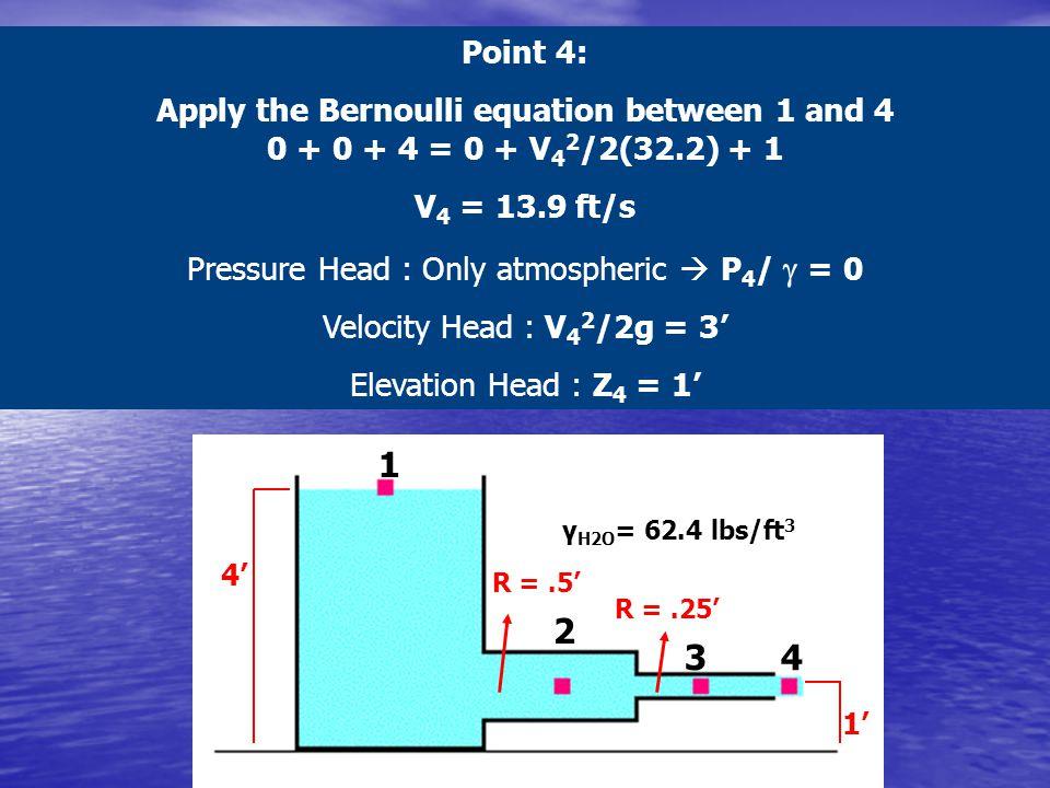 Pressure Head : Only atmospheric  P4/ g = 0